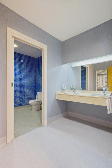 Baño En Ducha De Un Paciente: de la habitación, dispuesto en suite y con la zona de ducha e inodoro
