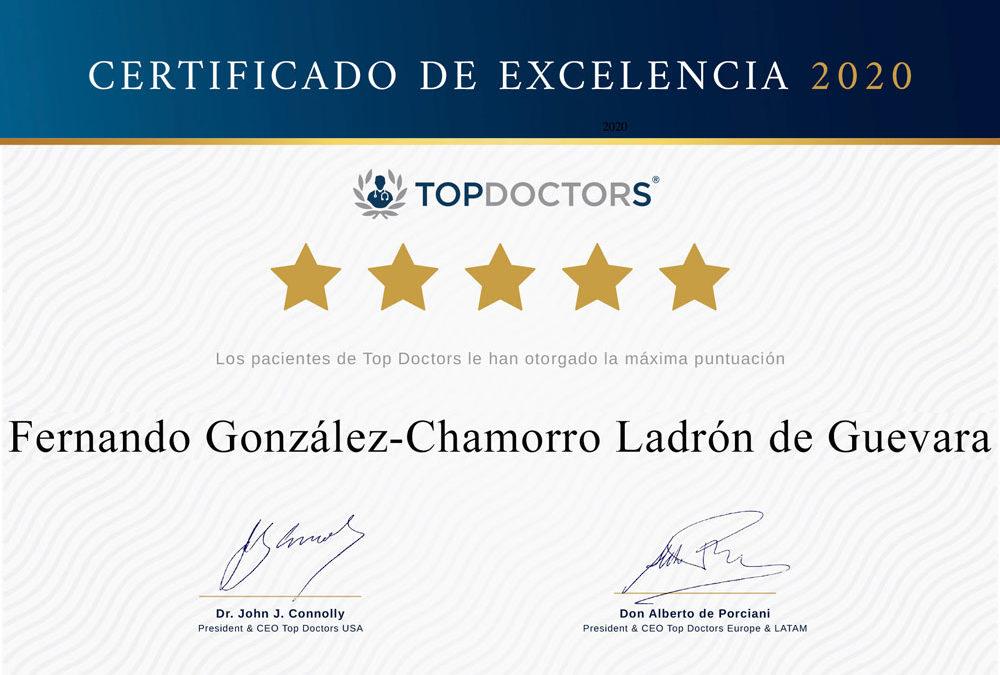 Certificado a la Excelencia del Doctor Fernando González Chamorro